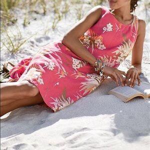 JJill linen dress with tropical print